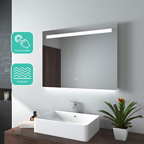 EMKE Espejo de Baño Espejo de baño Espejo LED Espejo de Pared con Interruptor Táctil+Antivaho,IP44,47W,Blanco...