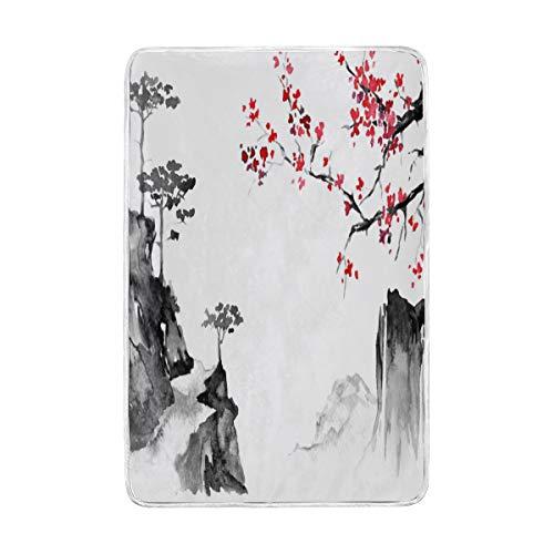 Traditionelle Kleinkind Bett (CPYang Japan Traditionelle Sakura Malerei, Überwurf, weich, warm, Mikrofaser, für Bett Couch-Decken für Erwachsene, Mädchen, Jungen, Kinder, 152 x 229 cm)