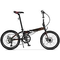 Monociclos Bicicleta Plegable Bicicleta de aleación de Aluminio Unisex 20 Pulgadas Juego de Ruedas de Velocidad Ultra Ligera Bicicleta (Color : Black, Size : 150 * 30 * 108cm)