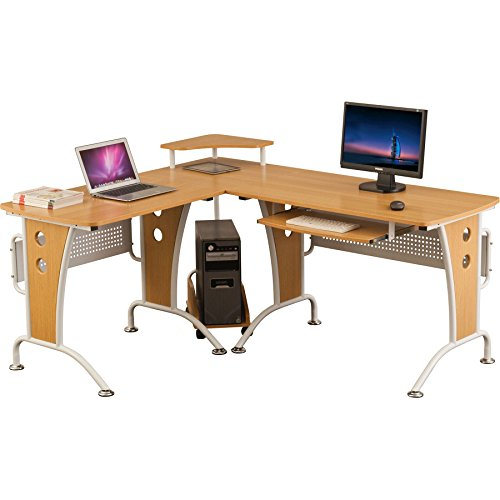 Large Corner Computer and Gaming Desk Table with Keyboard Shelf and CPU Trolley for Home Office in Oak - Piranha Furniture Unicorn PC 21o
