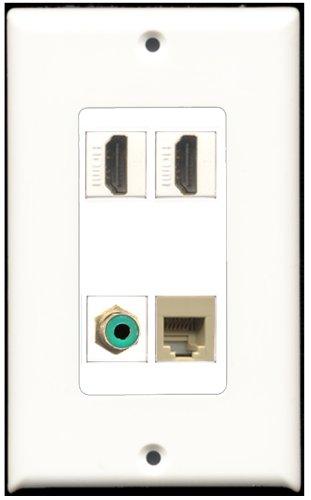 RiteAV-2Port HDMI 1Port RCA RJ11, RJ12, beige Wall Plate Decora 1Port, grün 4 Port, Single Gang Keystone