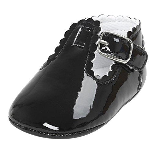 Fossen Zapatos Bebe Antideslizante Suela Blanda Primeros Pasos para Recién Nacido Niña Niño (0-6 meses, Negro)