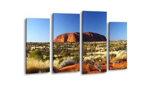 Leinwandbild Ayers Rock SUnrise LW148 Wandbild, Bild auf Leinwand, 4 Teile, 180x100cm, Kunstdruck Canvas, XXL Bilder, Keilrahmenbild, fertig aufgespannt, Bild, Holzrahmen, Australien, Outback, Uluru,