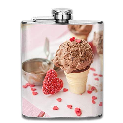 Unique flasks Stainless Steel Flasks 7 Oz Chocolate-chip-Ice-Cream Whiskey Flask Hip Flask Leak Proof Wine Men Women -
