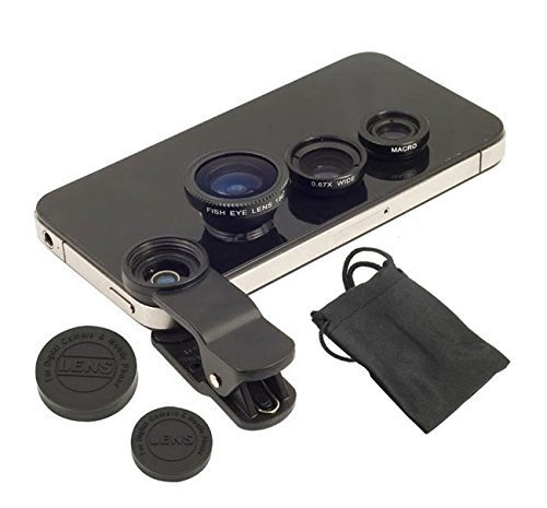 Wonderford Universal 3 in 1 Cell Phone Camera Lens Kit With Fish Eye Lens Wide Angle Lens and Macro Lens Compatible With Redmi Note 4 (1 Year Warranty, Assorted Colour)