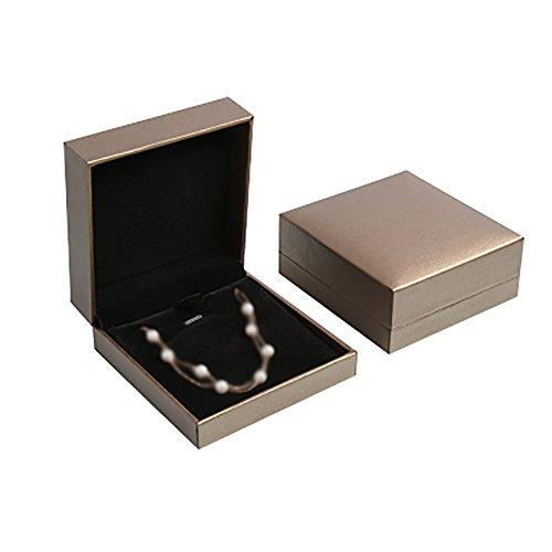 Doitsa Schmucklade Schmuckkästen Anhänger Halskette Schmuck Etui Geschenk Kasten für Geschenk Verpackung/Lagerung (Goldgrau 6.8*8*3.1cm)