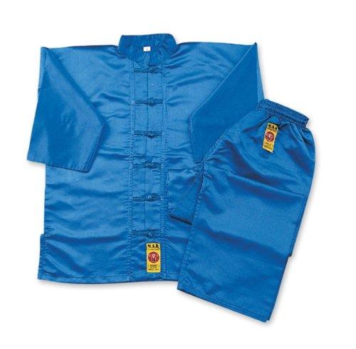 M.A.R. International Kung Fu-Anzug Kostüm Gear Martial Arts WU SHU Wing Chun Tai Chi Polyester Satin Stoff blau, 180 cm