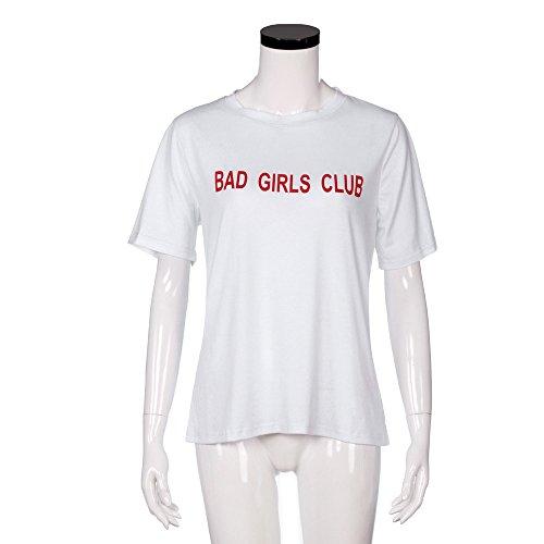"Longra Donna ""Bad Girls Club"" T-shirt stampata in cima Bianca"