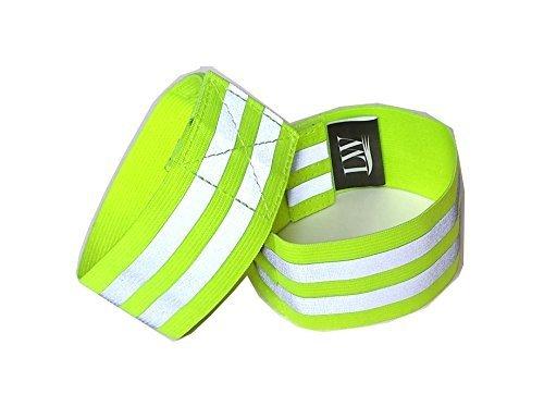 LW reflektierende Knöchel Band Armband (Paar) gelb Pink mit Bonus reflektierende Aufkleber (Yellow, Wristband)