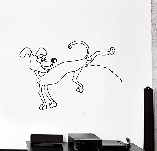 84x57 cm Pissing Dog Vinyl Wandtattoo Wohnzimmer Home Decor Abnehmbare Tier Wandaufkleber Kinderzimmer Ideen Muster Tapete Wandbild -