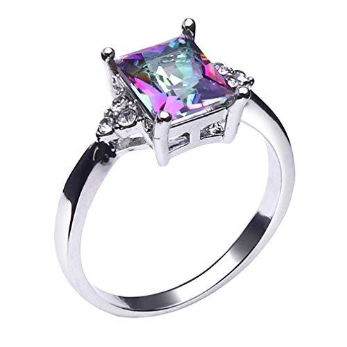 HYhy Square Zirkon Ring Faux Regenbogen Edelstein Cubic Ehering Kristall Versprechen Verlobungsring, 57mm (Halo Diamant Versprechen Ringe)