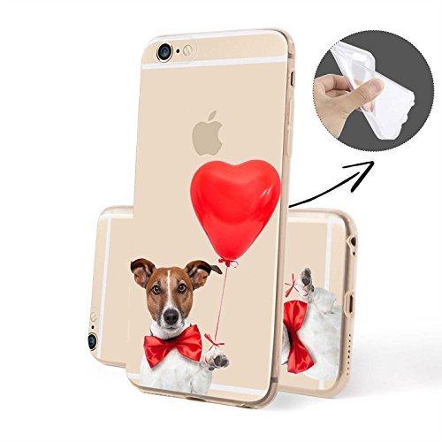 FINOO | Iphone 6 / 6S Plus Weiche flexible Silikon-Handy-Hülle | TPU Cover Schale mit Motiv | Tasche Case mit Ultra Slim Rundum-schutz | stoßfestes dünnes Bumper Etui | Hund mit Sekt von der Seite Hund mit Herzballon
