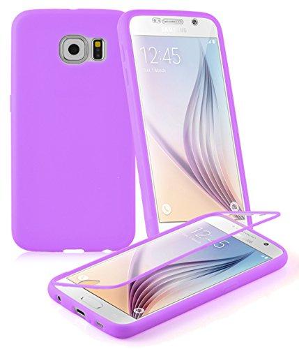Cadorabo ! TPU Silikon Schutzhülle (Full Body Rundumschutz auch für das Display) für Samsung Galaxy S6 (SM-G920F NICHT für EDGE-Version) in FLIEDER-VIOLETT