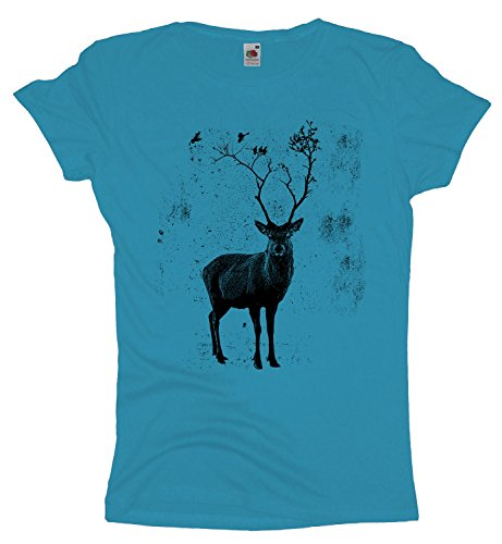 Deer Birds Tree Damenshirt   Hirsch T-Shirt Elch Vögel Skyblue