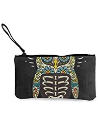 Canvas Coin Purse Dia De Los Muertos Skull Cat Guitar Customs Zipper Pouch Wallet For Cash Bank Car Passport