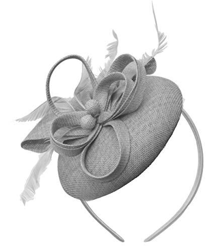 Fascinator für Damen, Caprilitperlen, rund, mit Schleife, Sinamay Gr. Einheitsgröße, Silber