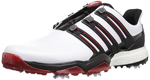 Adidas Powerband BOA Boost Golf Shoes,White/Core Black/Scarlet,11.5 M US