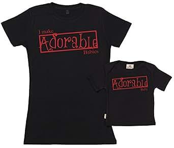 SR - I Make Adorable Babies Organic Mum & Baby T-Shirt Gift Set in Gift Box Black, L & 0-6M