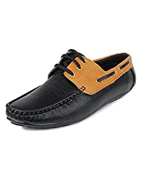 Do Bhai Polo-002 Casual Boat Shoes for Men (UK9, Black)