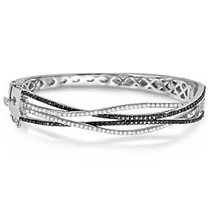 Allurez - Femmes - Bangle-bracelets - Or blanc 585/1000 (14 carats) 27.84 gr - Rond Diamant Noir 1ct