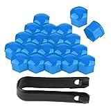 Aramox Cache-écrous, 20Pcs Capuchons d'écrou de roue de voiture Cache-vis 19mm Boulon Jantes Décoration extérieure Antipoussière Noir (bleu)
