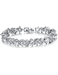Yellow Chimes A5 Grade Crystal White Diamond Glimmering Diamonds Bracelet for Women & Girls