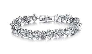 Yellow Chimes A5 Grade Crystal White Diamond Glimmering Diamonds Bracelet for Women & Girls