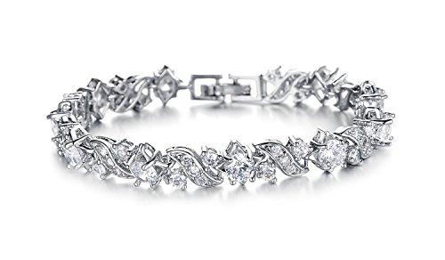 Yellow Chimes A5 Grade Crystal White Diamond Glimmering Diamonds Bracelet for Women...