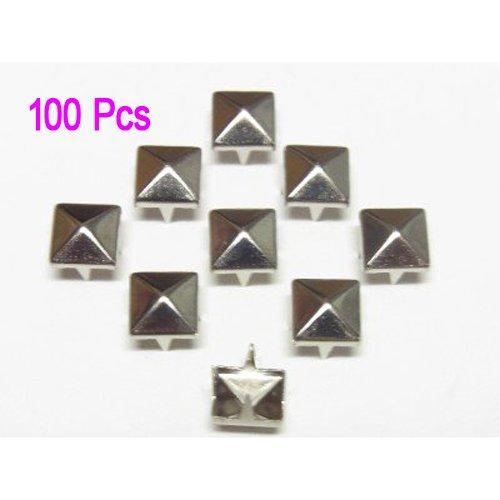 SODIAL(R) 100 Stueck 10 x 10 mm Pyramidennieten Pyramiden Nieten Ziernieten Gothic Punk Basteln DIY Silber