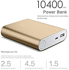 pcshop Ultra Thin Portable 10400mAh Power Bank with LED Light Charger for Smartphones (Silver)
