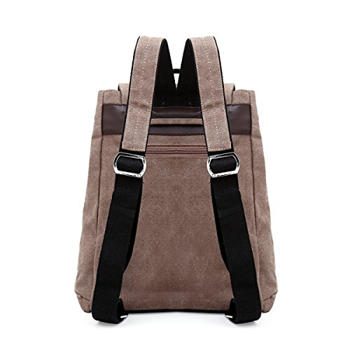 QPALZM Ms Coulisse Fan Canvas Spalle Zaino 20-35L Brown