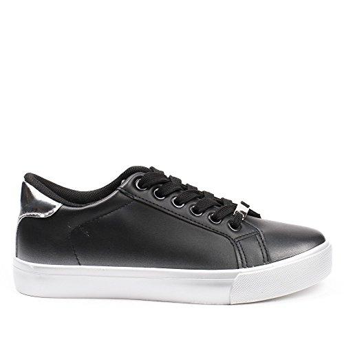 Ideal Shoes - Baskets basses en similicuir Judite Noir