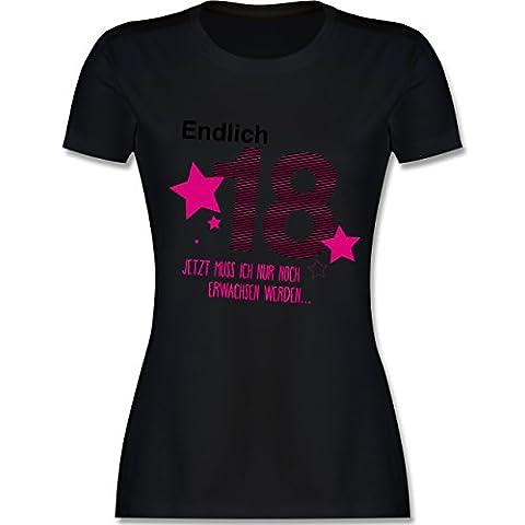 Geburtstag - Endlich 18 - L - Schwarz - L191 - tailliertes Premium T-Shirt mit Rundhalsausschnitt für Damen