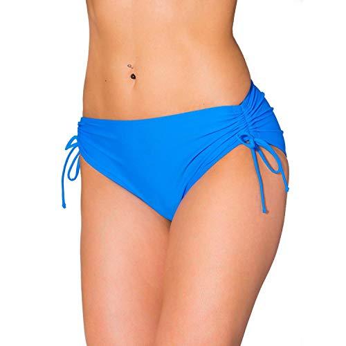 Aquarti Damen Bikinihose mit Raffung und Schnüren, Farbe: Hellblau, Größe: 40