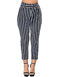 Hibote Pantalons de Crayon pour Femme Rayures 7 8 Longueur Taille Haute  Elastique Pantalon avec 64bba57b02c0