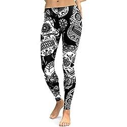 Zarup♥♥♥Mujer Calavera de impresión polainas pantalones de yoga pantalones de sudor (Negro, M)