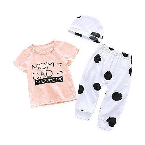 XXYsm Unisex Baby Mädchen Jungen Briefdruck Kurzarm T- Shirt mit Polka Dot Hosen und Hut Outfits Set MOM+DAD=AWESOME ME (Rosa, 0-6 Monate)