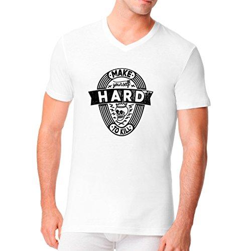 Im-Shirt - Fun Shirt: Hard To Kill cooles Fun Men V-Neck - verschiedene Farben Weiß