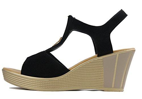 Wealsex Sandales Suédé Compensé Femme Bout Ouvert Fermeture Eclair Mode Grande Taille 40 41 42 43 Noir