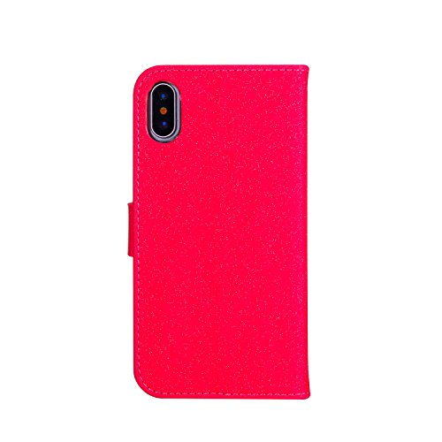 EUWLY Bling Glitter Portafoglio Custodia in PU Pelle per iPhone X Wallet Cover Bello Fashion Printing Fiore Flower Pattern Style Custodia Cover Elegante Brillante Tacchi Alti Modello Shell Case Premiu Rosso