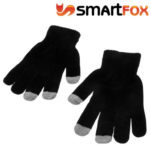 Smartfox Touchscreen Handschuhe für kapazitive Touchscreens für Handy Smartphone Tablet Navi wie z.b. Apple iPhone, iPad, Samsung Galaxy, Sony Xperia uvw. - in schwarz (Samsung Note Tablet 4g)