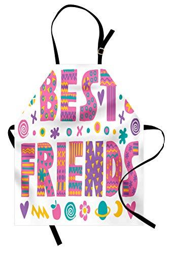 Best Friend Schürze, 90er Jahre Best Friends Kalligraphie dynamischer Druck, Unisex-Küchenschürze mit verstellbarem Hals zum Kochen Backen im Gartenbau, Violet Earth Yellow und Dark ()
