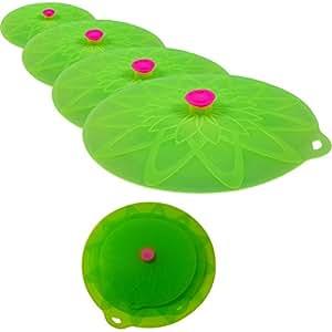 Kuke Bi Silicone Colore aspirazione coperchi degli alimenti comprende ciotola coperture per microonde, pentole, padelle, tazze e contenitori (4pcs sets, Verde)