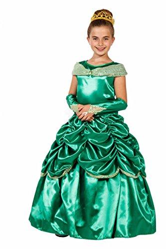 essin Kostüm Kinder Grün + Krone - Prinzessinnenkleid Mädchen - Prinzessin Kostüm Mädchen (98/104) (Deluxe Prinzessin Belle Kostüme)