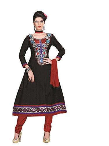 Vibes Women's Pure Cotton Straight Fit Un Stitched Salwar Kameez(V51-1005_Black)