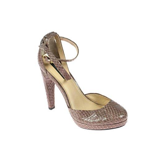 Rachel Zoe Damen Pumps Leder Braun Taupe Schlangenmuster, Schuhgröße:40