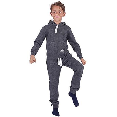 91K2 LIL'Finch Kinder Trainingsanzug Jungen Mädchen Kids Dunkelgrau Gr. 122/128