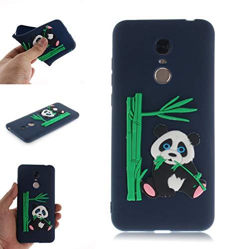 Coque pour Xiaomi RedMi 5 Plus, Coffeetreehouse Coque 3D Neuf Design Premium [Panda et Bambou] Housse de Protection Flexible Soft Case Cover,Bleu
