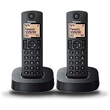 Panasonic KX-TGC312SPB - Teléfono inalámbrico digital (con 2 auriculares, 2 unidades), negro