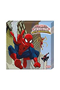 Procos 85154 - Servilletas papel ULTIMATE Spider Man Web Warriors, 33 x 33 cm, 2 capas, 20 unidades, rojo/azul/azul